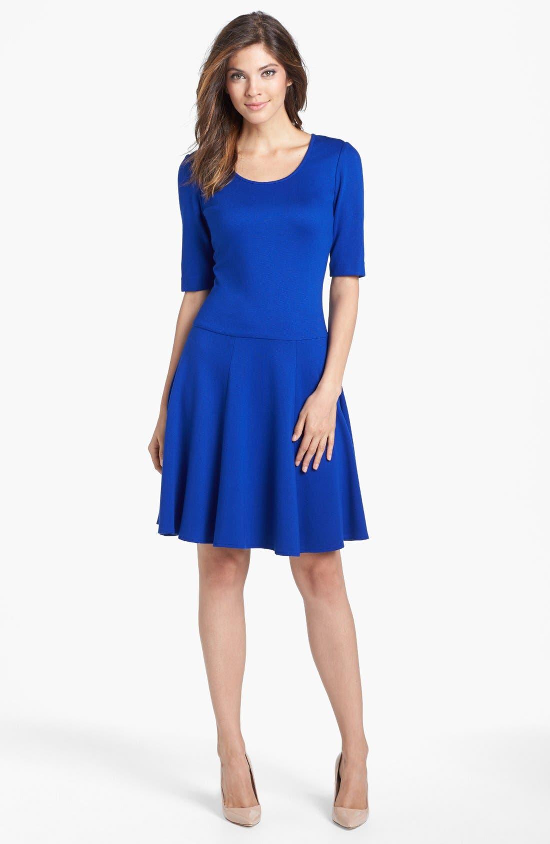 Alternate Image 1 Selected - Eliza J Ponte Knit Fit & Flare Dress