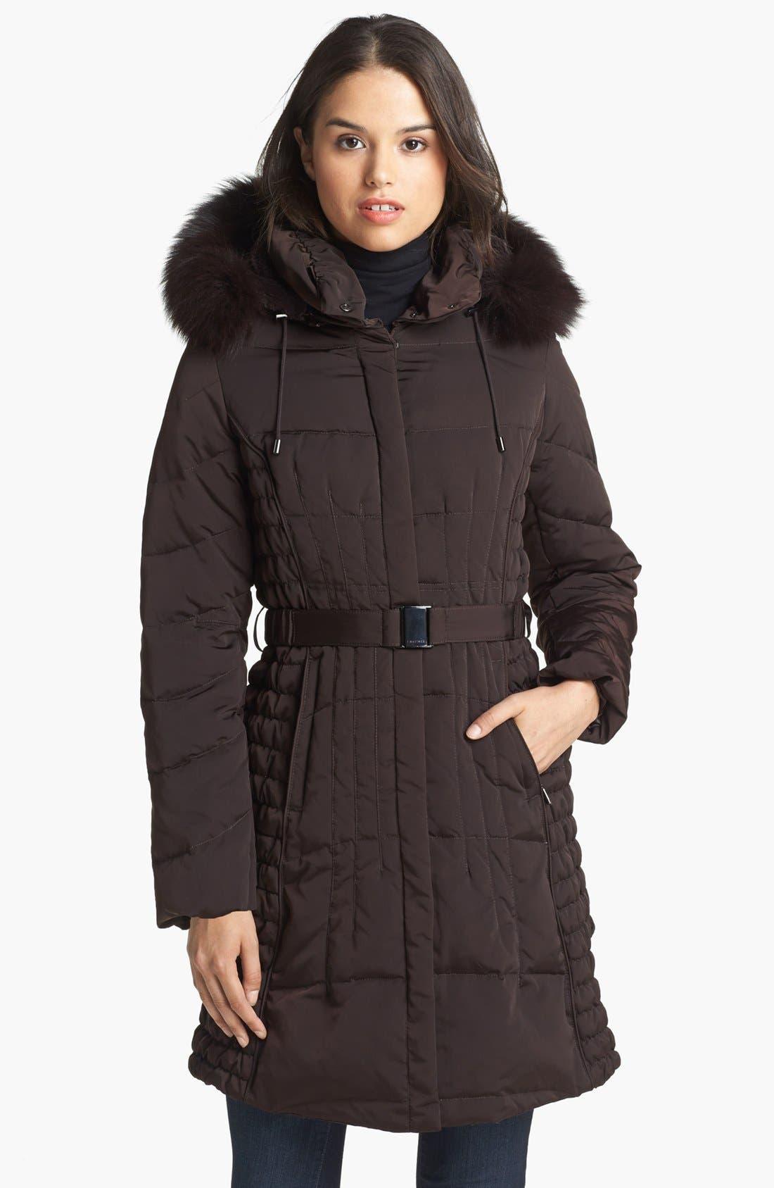 Alternate Image 1 Selected - 1 Madison Genuine Fox & Faux Fur Trim Down Walking Coat