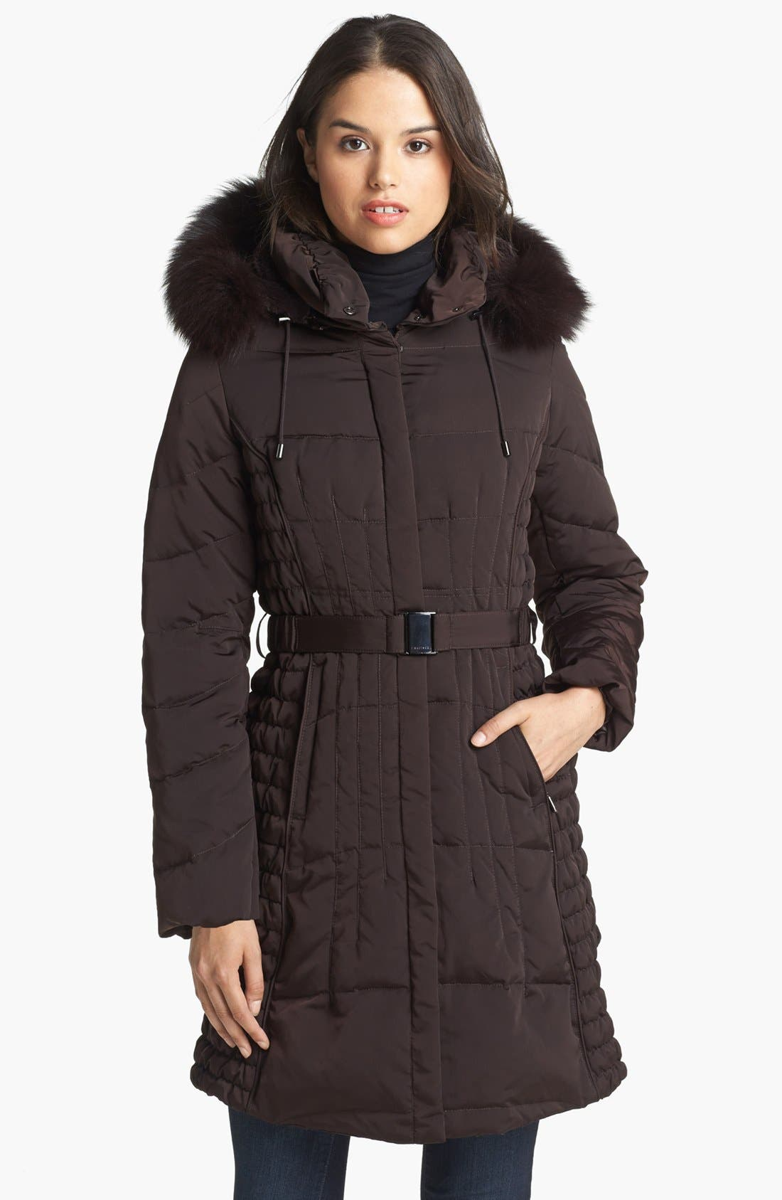 Main Image - 1 Madison Genuine Fox & Faux Fur Trim Down Walking Coat