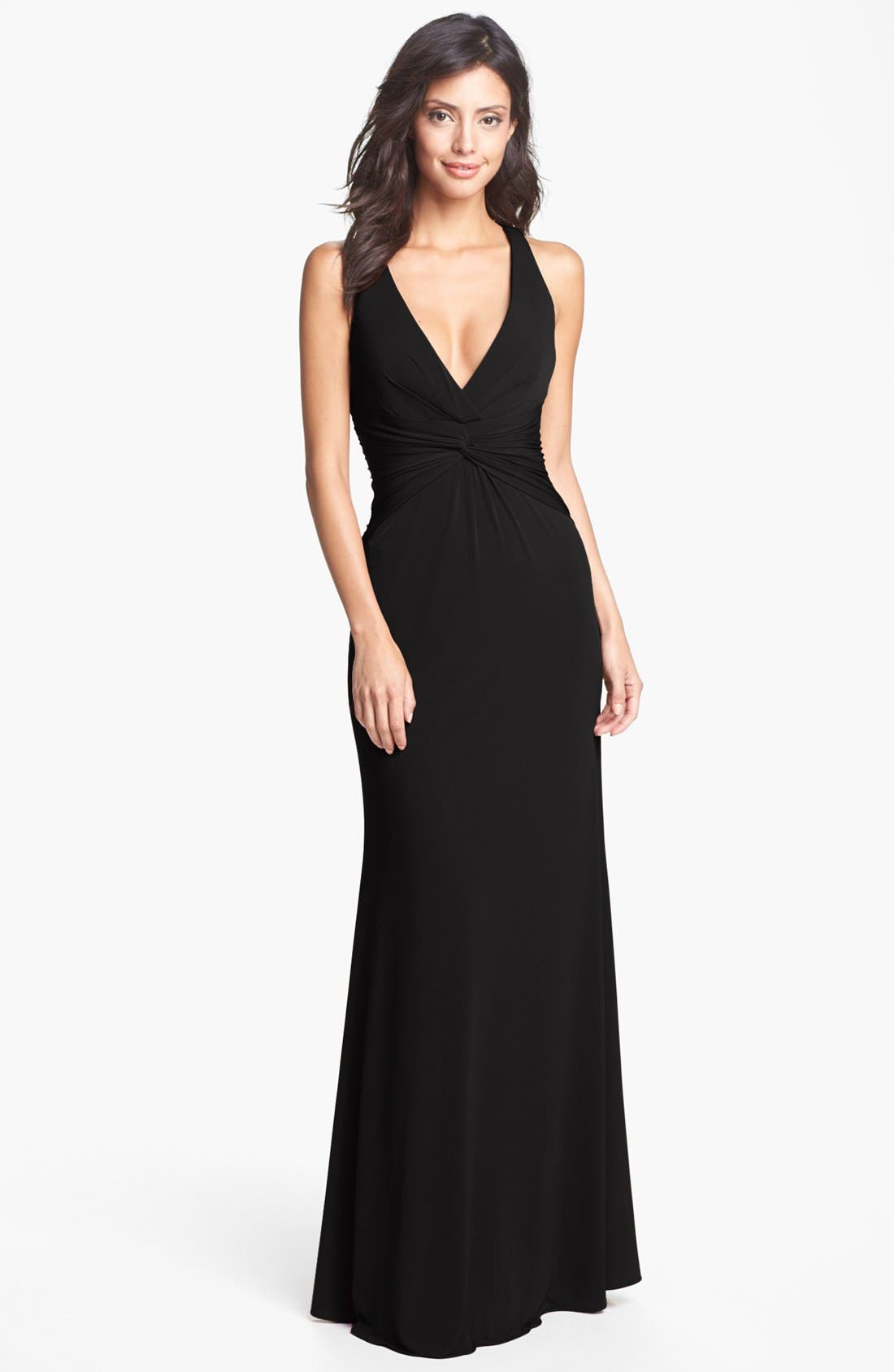 Main Image - Laundry by Shelli Segal Knotted Jersey Cross Back Gown