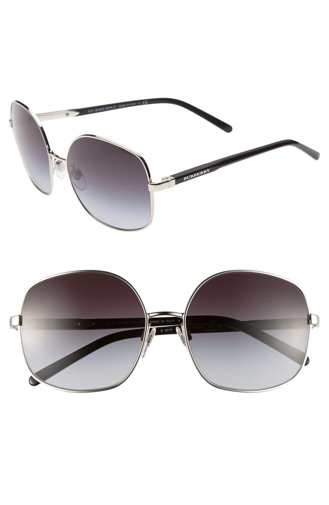 Alternate Image 1 Selected - Burberry 56mm Wire Rim Sunglasses