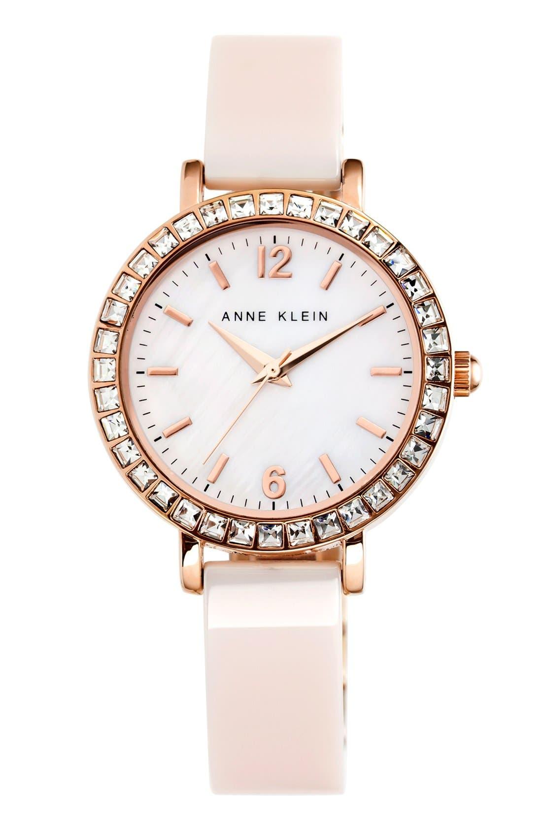 Main Image - Anne Klein Crystal Bezel Ceramic Bangle Watch, 32mm