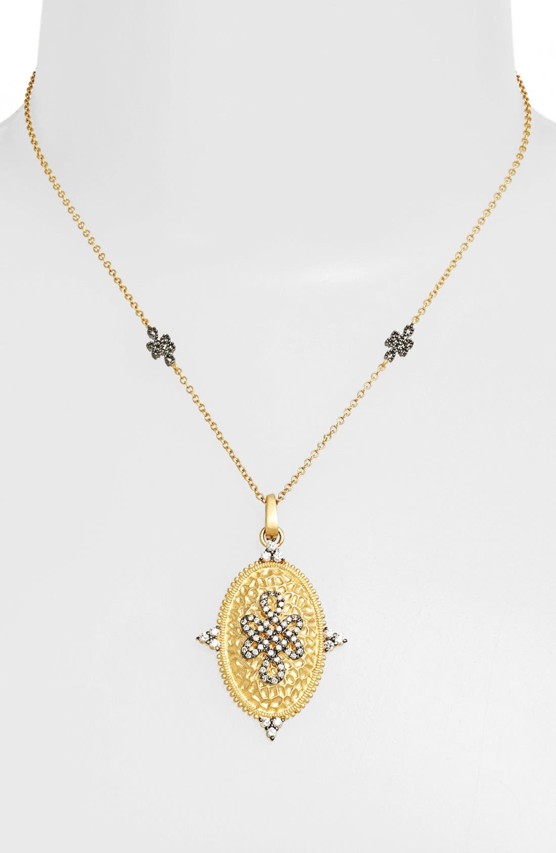 Main Image - FREIDA ROTHMAN 'Gramercy' Love Knot Shield Pendant Necklace