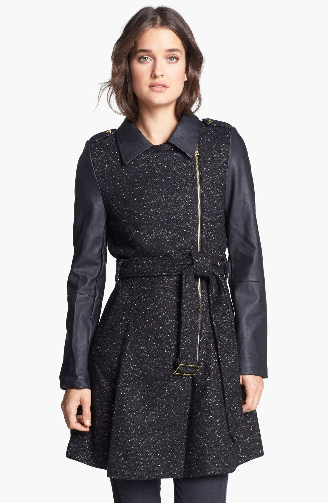 Main Image - bebe Asymmetrical Tweed & Faux Leather Coat