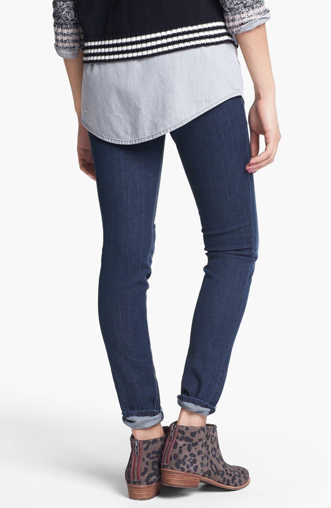 Alternate Image 2  - Vigoss Embossed Pocket Skinny Stretch Jeans (Medium) (Juniors)