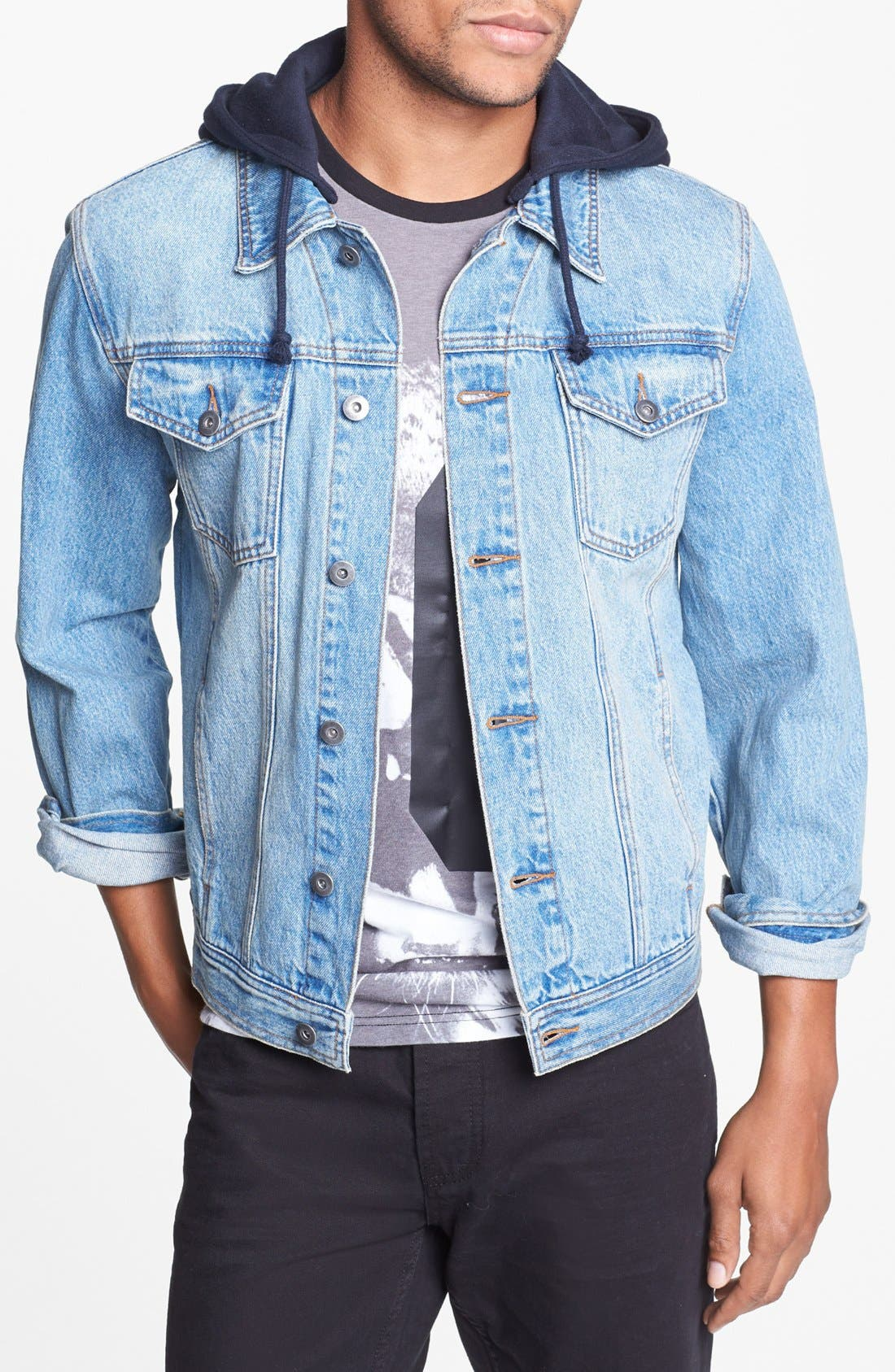 Alternate Image 1 Selected - Topman Hooded Denim Jacket