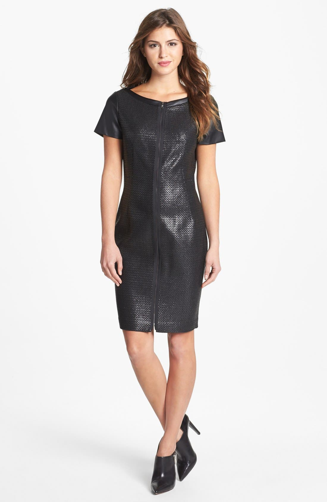Main Image - T Tahari 'Lalita' Textured Front Faux Leather Dress
