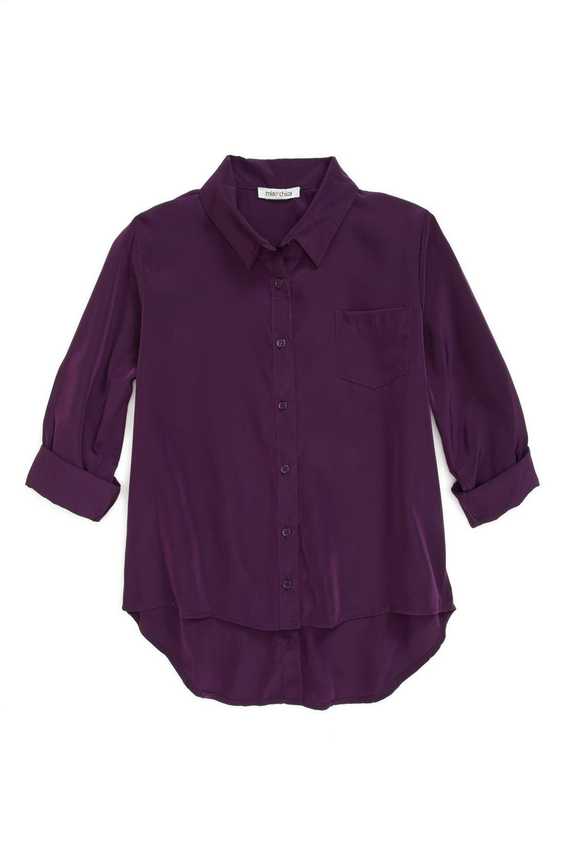 Alternate Image 1 Selected - Mia Chica 'Back Button' Woven Top (Big Girls)