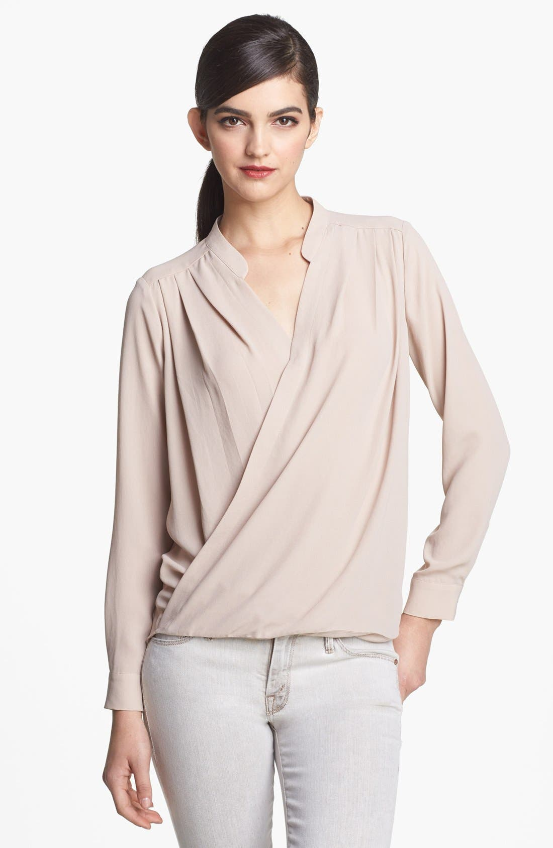 Alternate Image 1 Selected - Ro & De Long Sleeve Surplice Top (Regular & Petite)