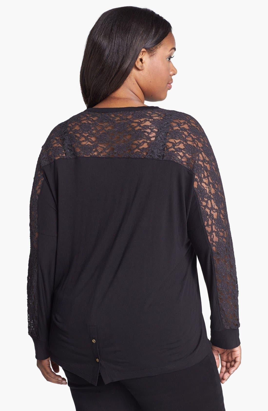 Alternate Image 2  - Kische Lace Shoulder Cardigan (Plus Size)