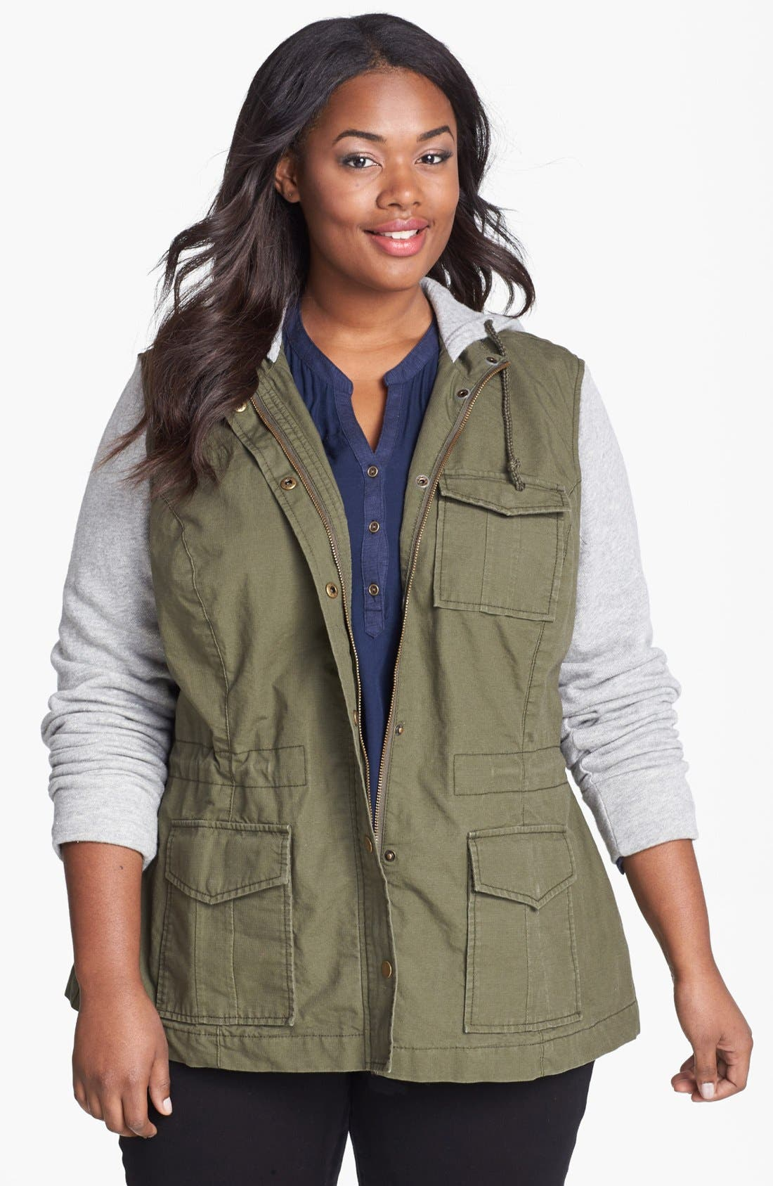 Alternate Image 1 Selected - Lucky Brand French Terry Military Jacket (Plus Size)