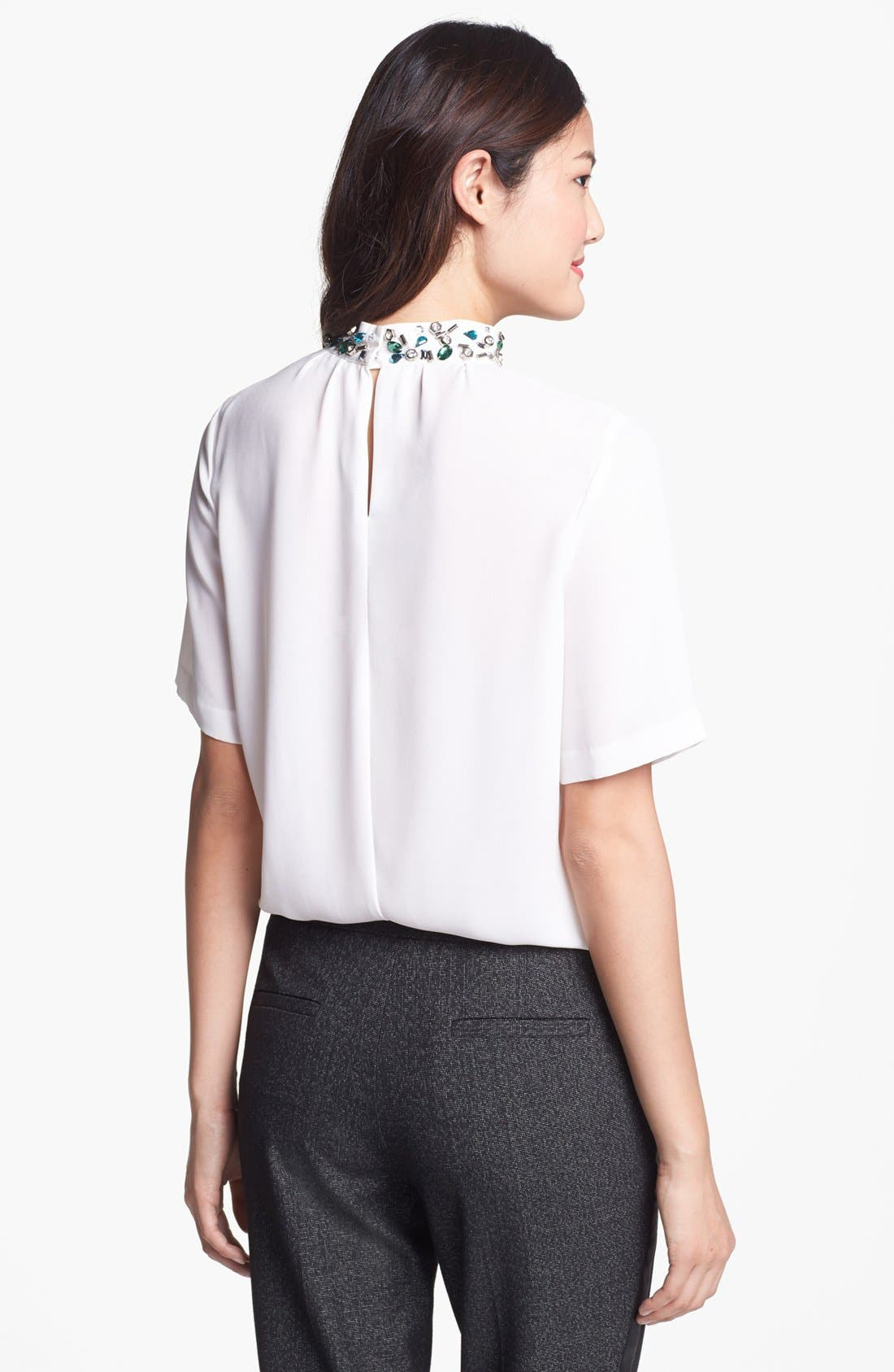 Alternate Image 2  - Vince Camuto Embellished Collar Pleated Blouse