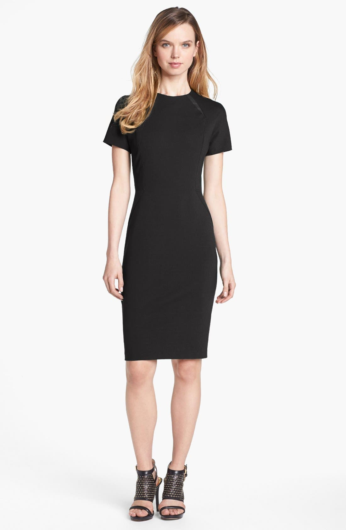 Alternate Image 1 Selected - Vince Camuto Faux Leather Detail Sheath Dress (Online Exclusive)
