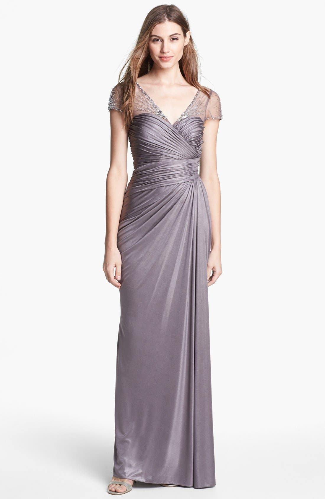 Main Image - Adrianna Papell Embellished Metallic Jersey Gown