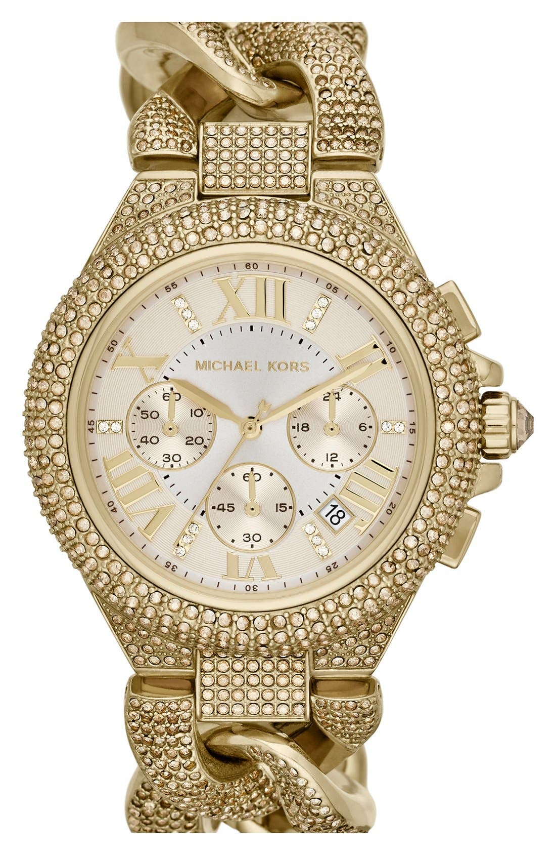 Main Image - Michael Kors 'Camille' Crystal Encrusted Chain Link Watch, 44mm