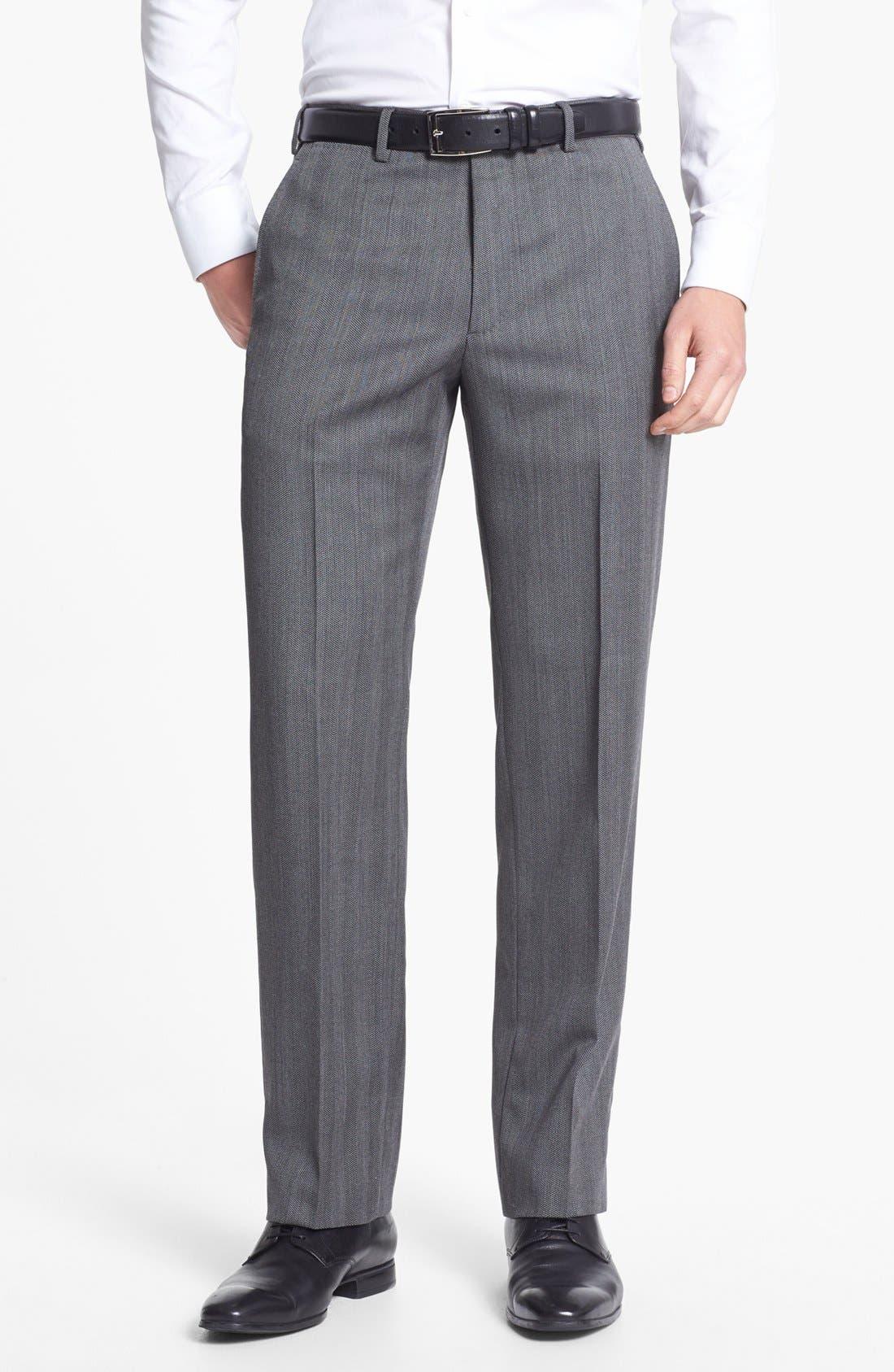 Alternate Image 5  - Armani Collezioni 'Giorgio' Grey Herringbone Wool Suit