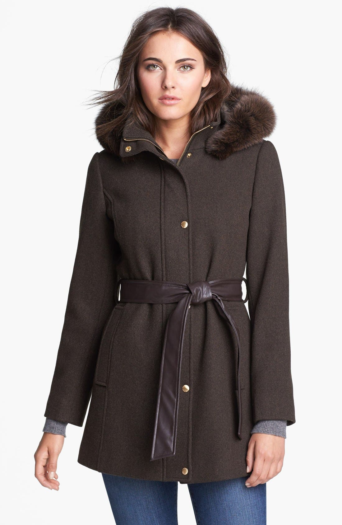 Main Image - Ellen Tracy Genuine Coyote Fur Trim Belted Coat