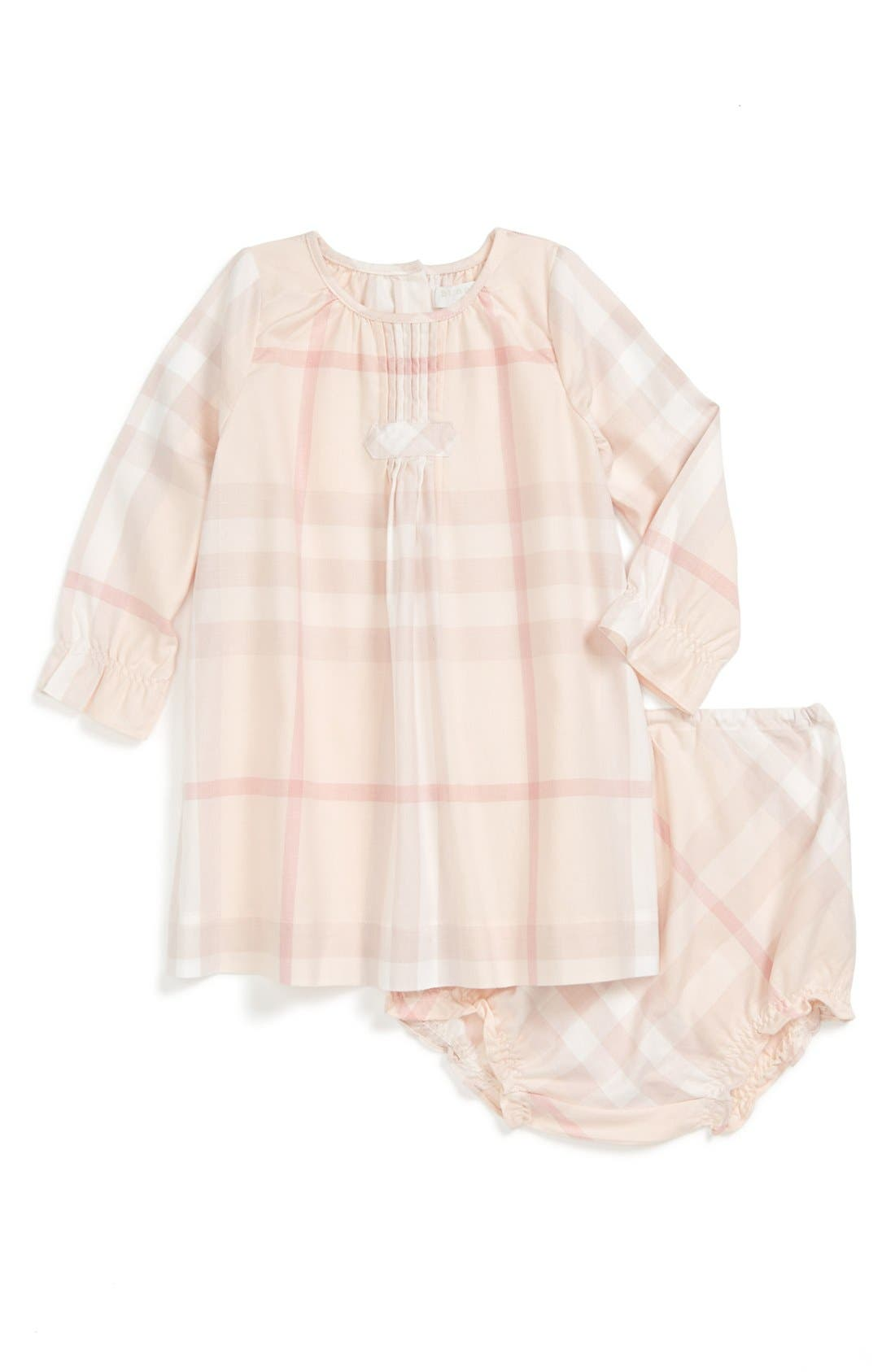 Alternate Image 1 Selected - Burberry Check Print Dress & Bloomers (Baby Girls)