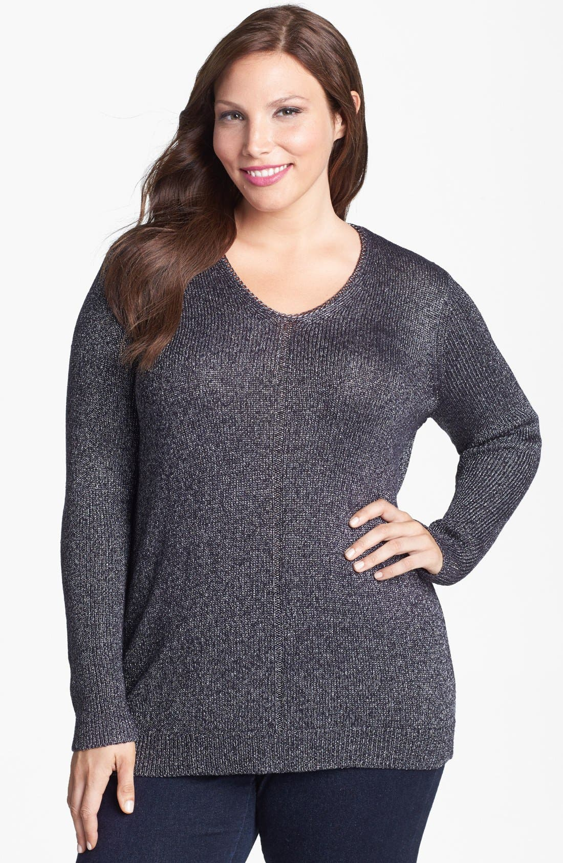 Alternate Image 1 Selected - Sejour Chain Detail Sweater (Plus Size)