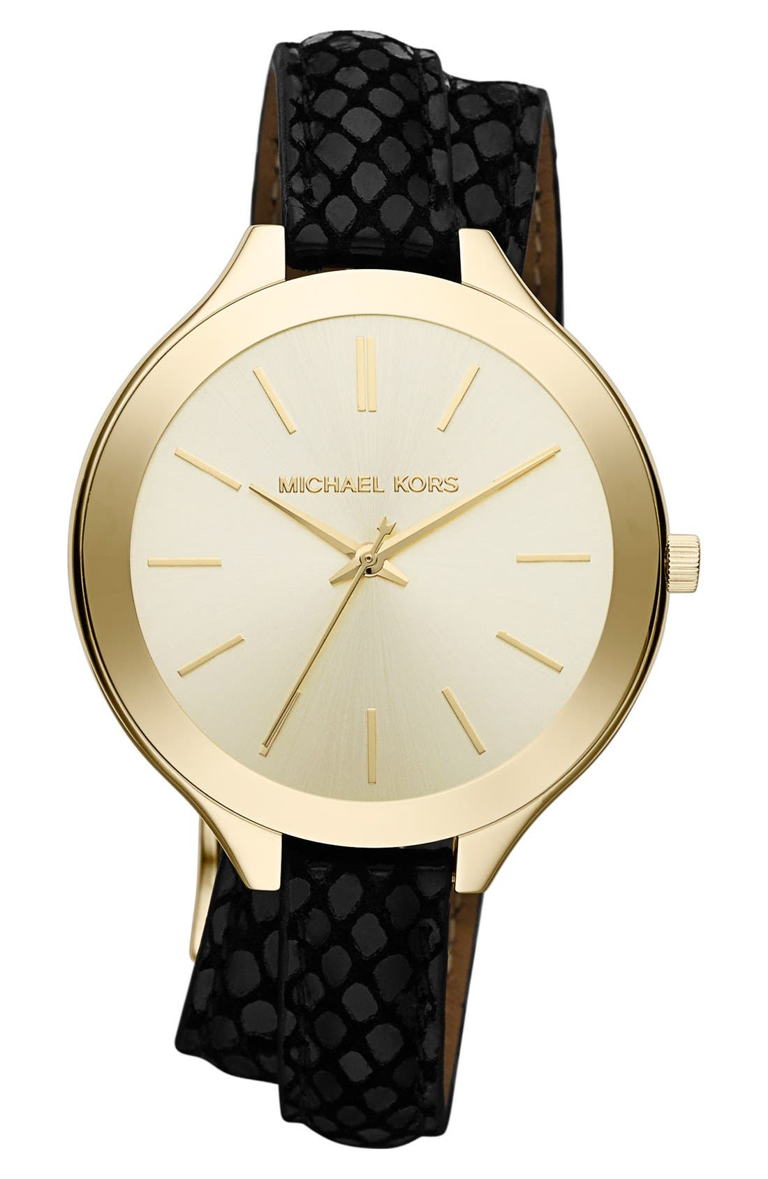 Main Image - Michael Kors 'Slim Runway' Embossed Leather Strap Watch, 42mm