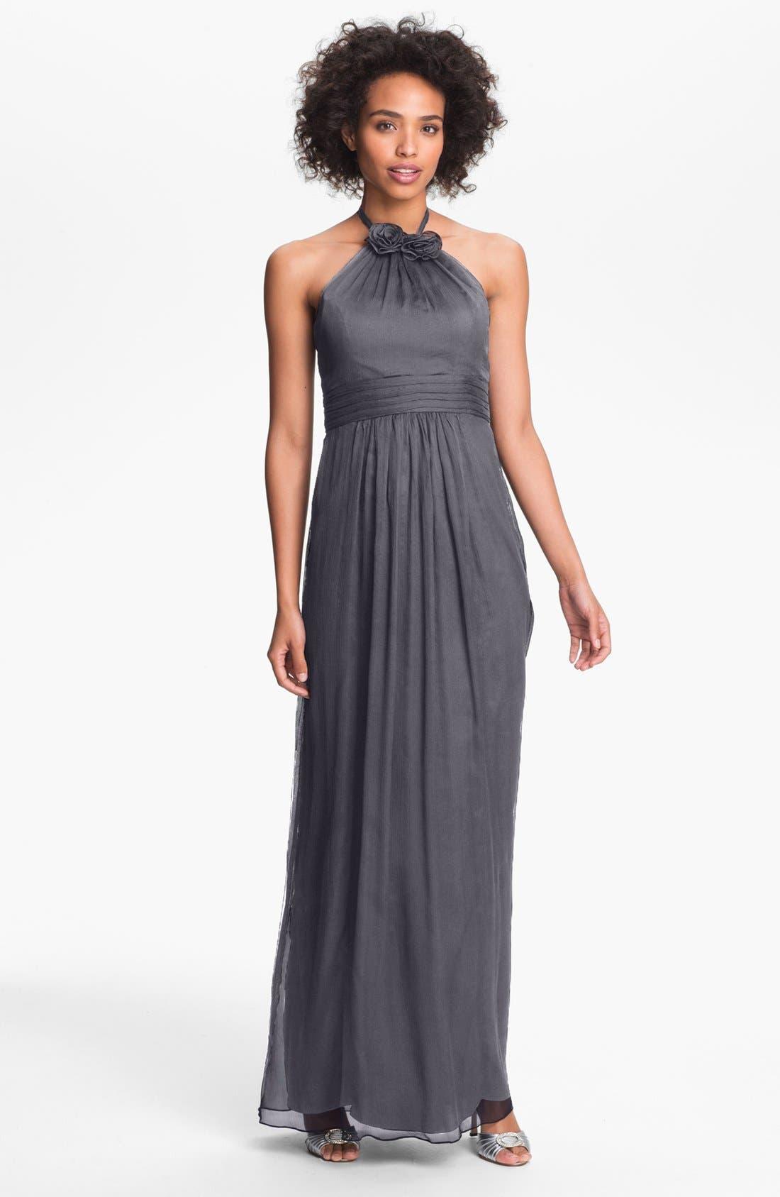 Alternate Image 1 Selected - Amsale Silk Halter Gown