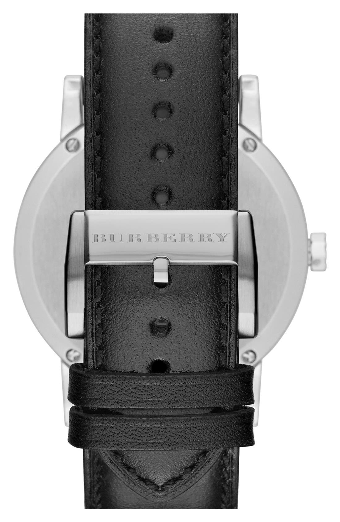 Alternate Image 2  - Burberry Check Stamped Round Chronograph Watch, 42mm