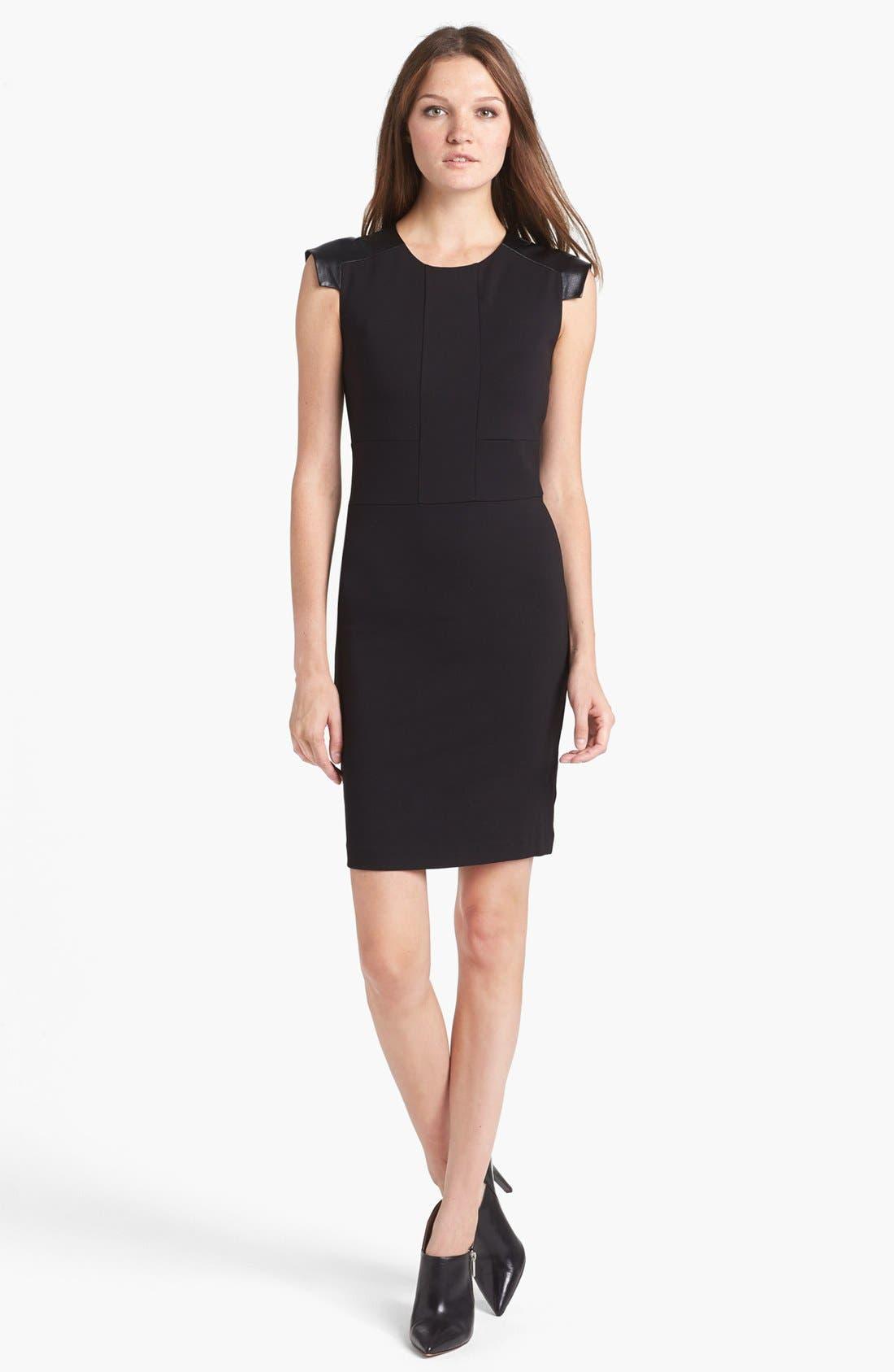 Alternate Image 1 Selected - Ted Baker London Leather Shoulder Sheath Dress