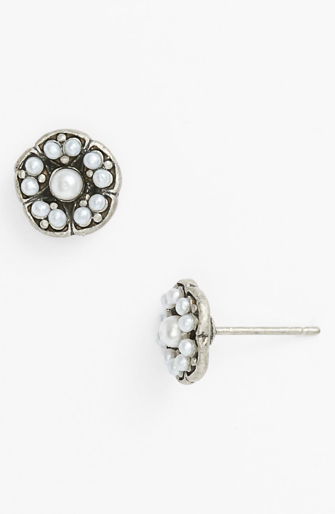 Alternate Image 1 Selected - Rachel Faux Pearl Flower Stud Earrings (Juniors) (Online Only)