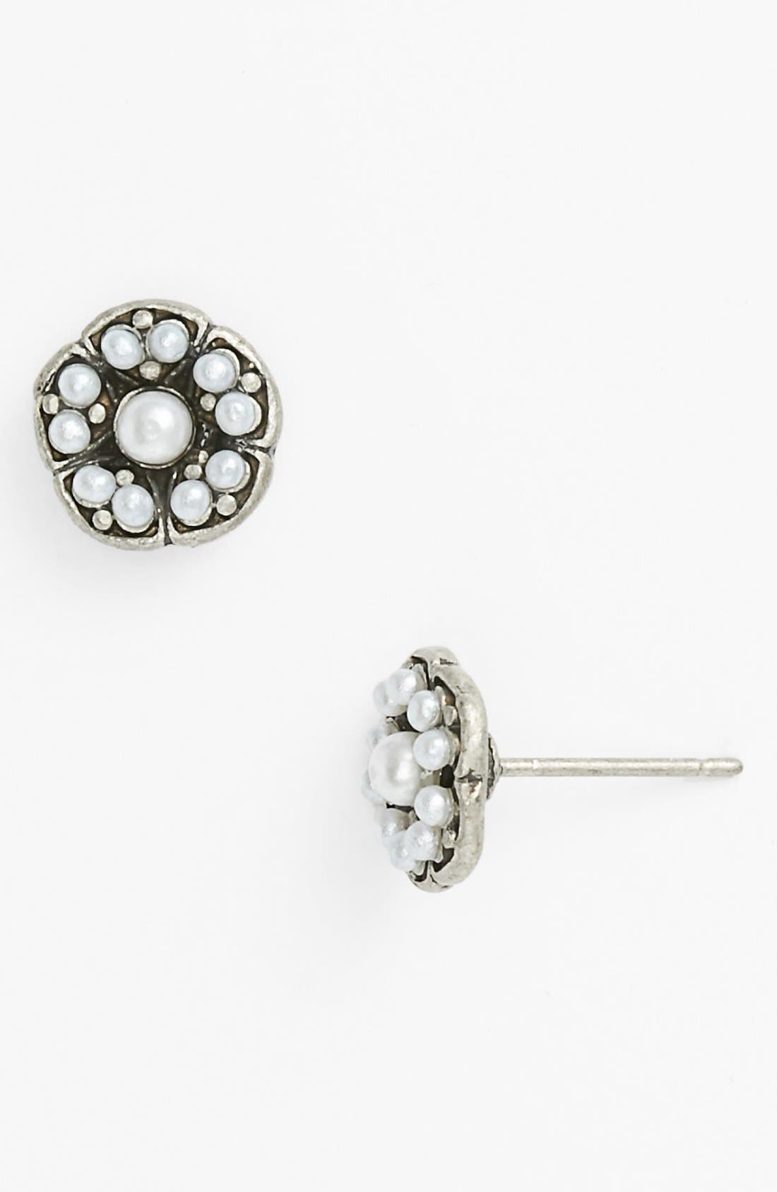 Main Image - Rachel Faux Pearl Flower Stud Earrings (Juniors) (Online Only)