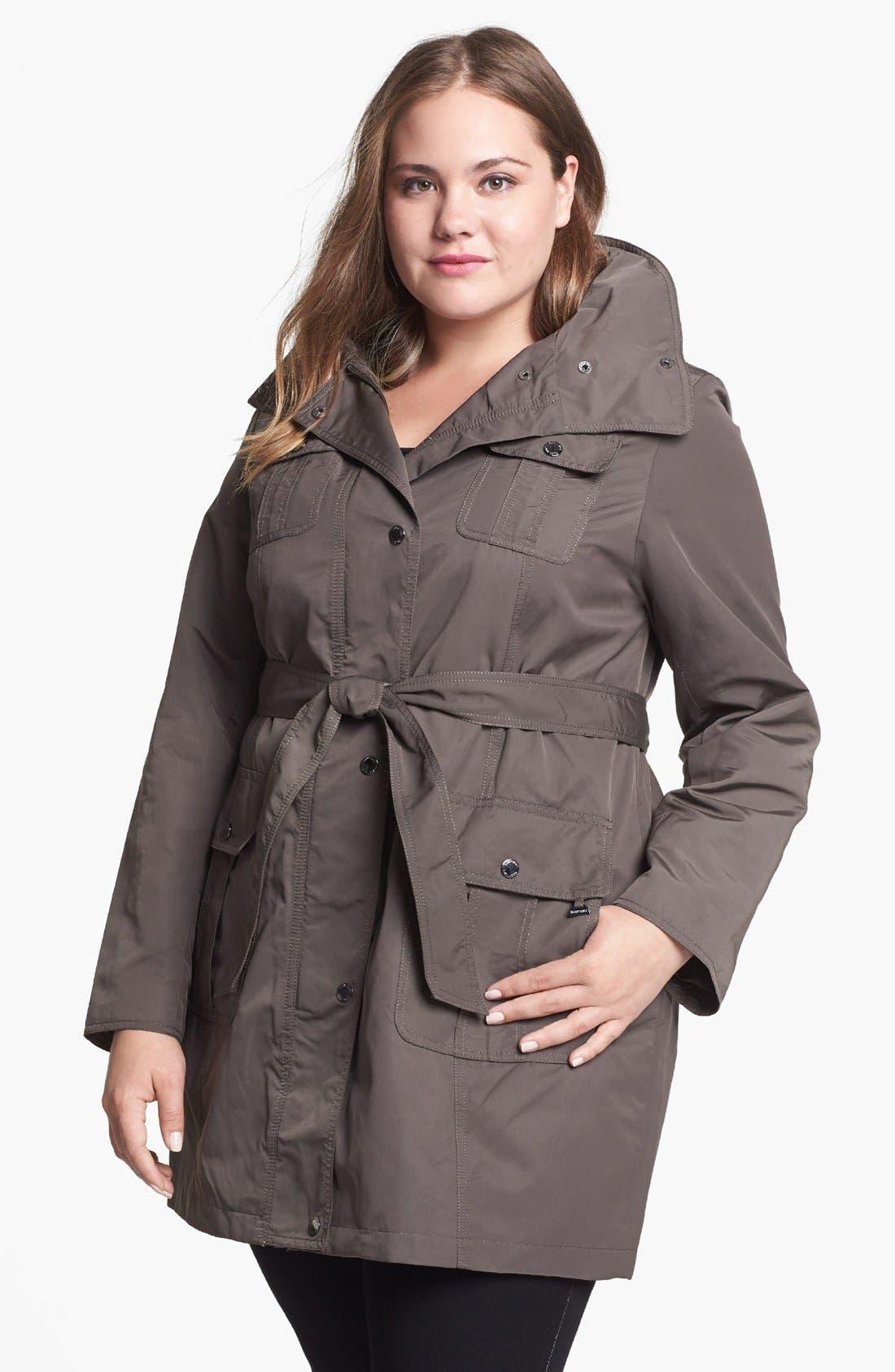 Main Image - Ellen Tracy Trench Coat with Hidden Hood (Plus Size)