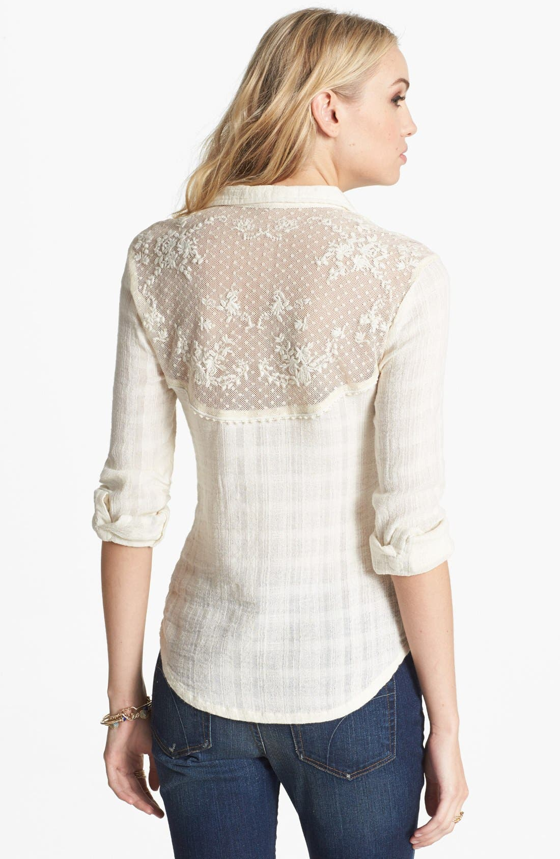 Alternate Image 2  - Free People 'Saddle Up' Lace Yoke Shirt