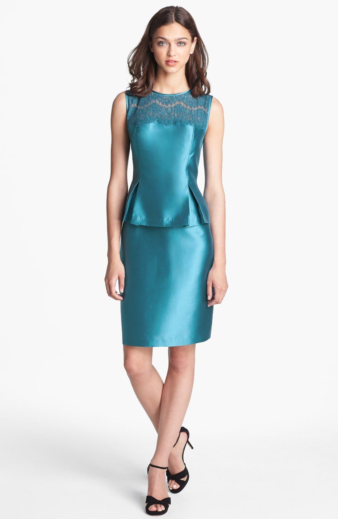 Alternate Image 1 Selected - Alex Evenings Lace Yoke Satin Peplum Sheath Dress