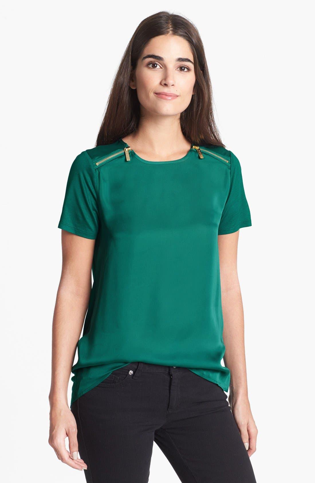 Alternate Image 1 Selected - MICHAEL Michael Kors Zip Shoulder Top