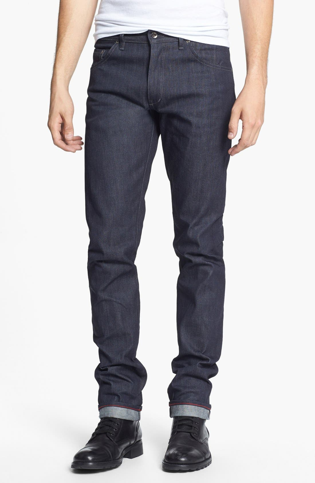 Alternate Image 1 Selected - Raleigh Denim 'Martin' Skinny Fit Selvedge Jeans (Raw)
