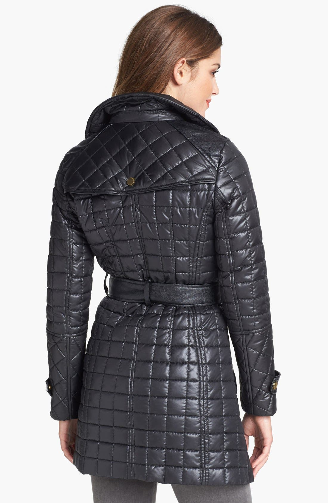 Alternate Image 3  - Via Spiga Asymmetrical Belted Quilted Coat (Online Only)