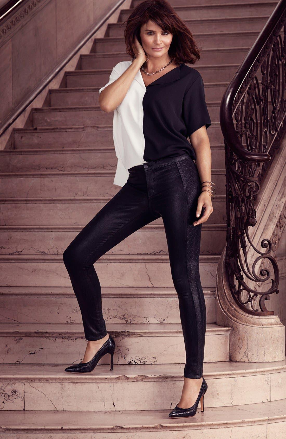 Alternate Image 4  - NYDJ Coated Stretch Skinny Jeans (Black)