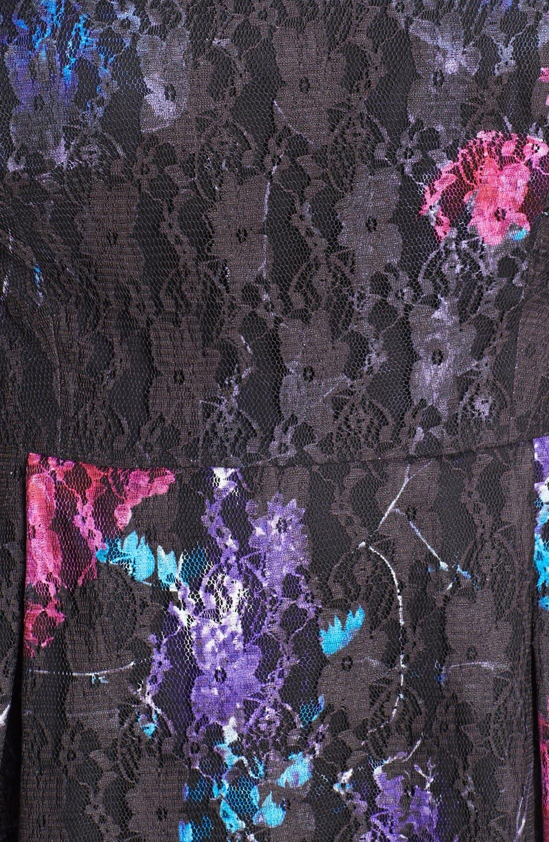 Alternate Image 3  - Ivy & Blu Print Lace Fit & Flare Dress