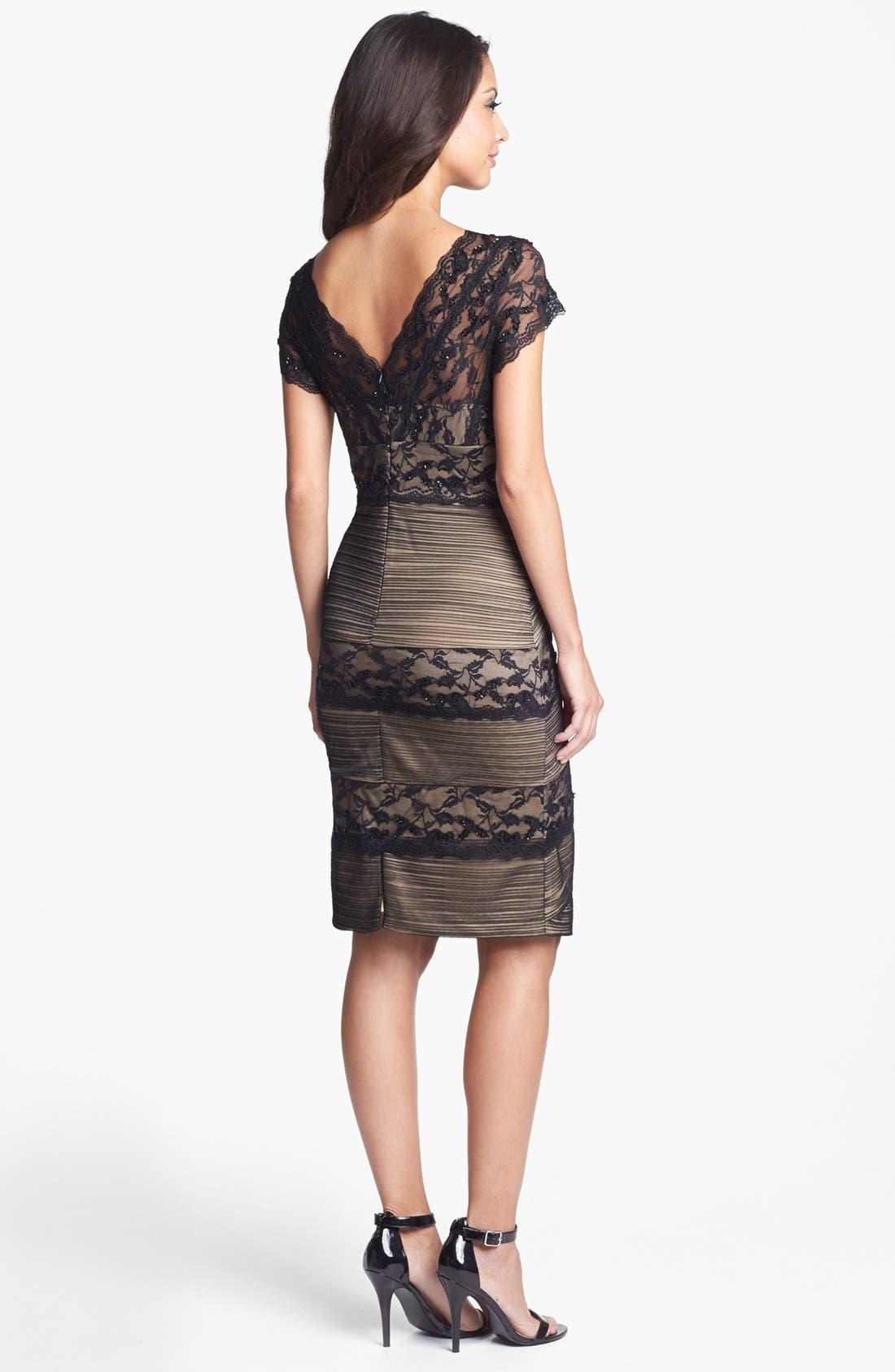 Alternate Image 2  - Marina Mixed Lace Sheath Dress (Regular & Petite)