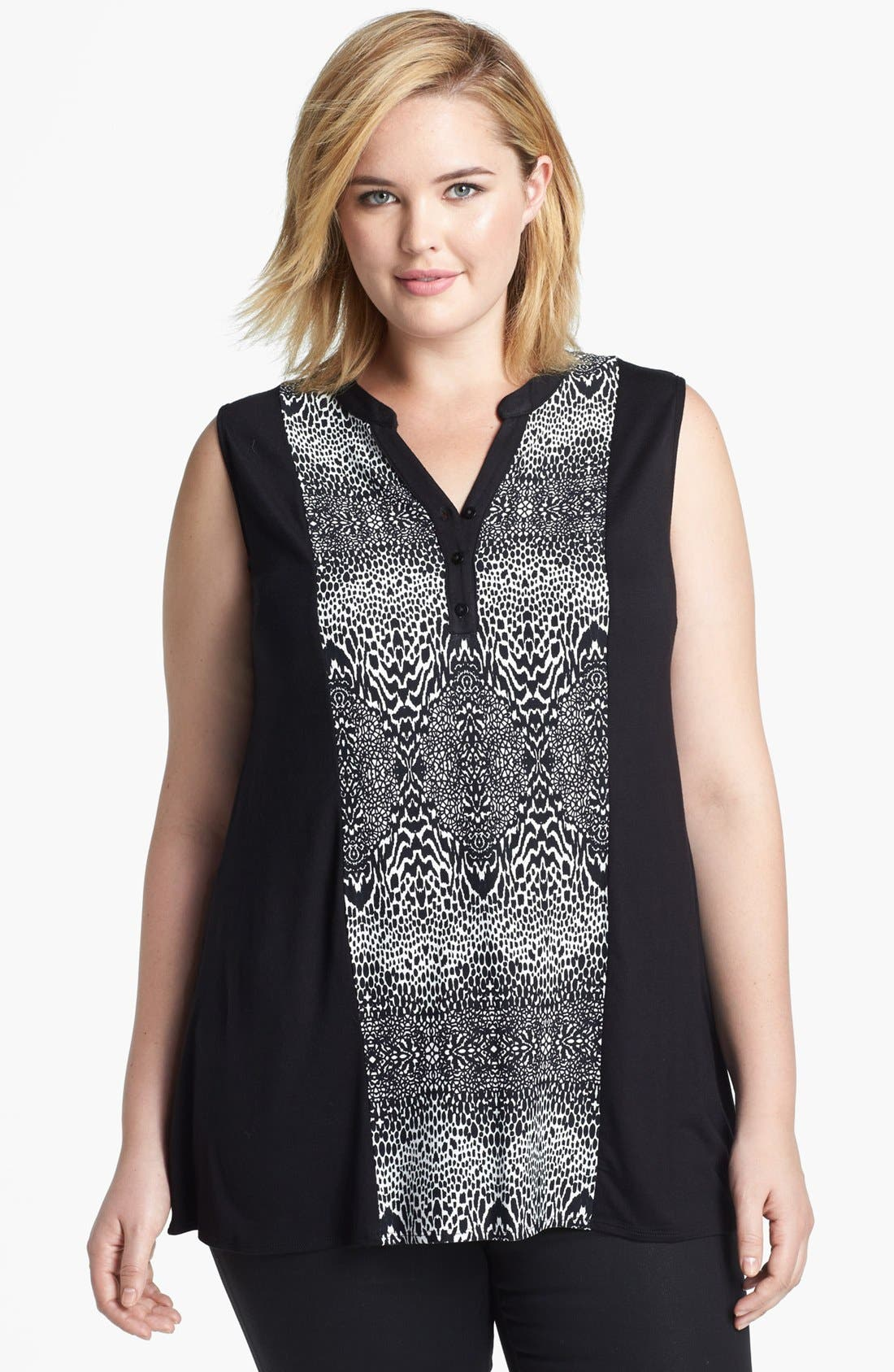 Alternate Image 1 Selected - Evans Print Panel Jersey Top (Plus Size)