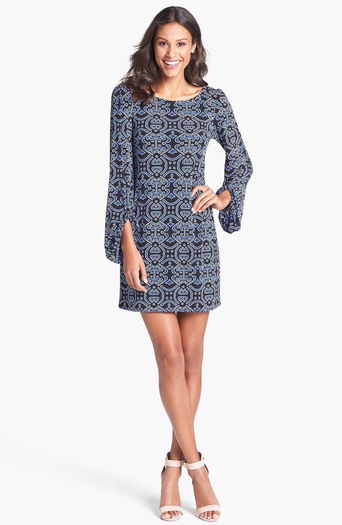 Alternate Image 1 Selected - Laundry by Shelli Segal Printed Blouson Sleeve Shift Dress