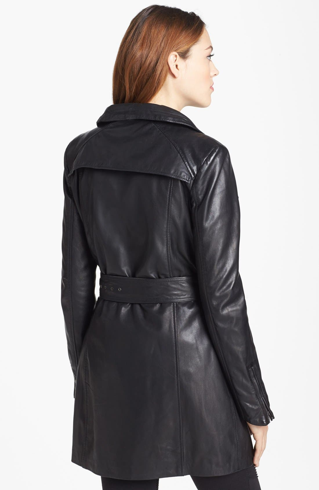 Alternate Image 2  - LaMarque Belted Leather Coat