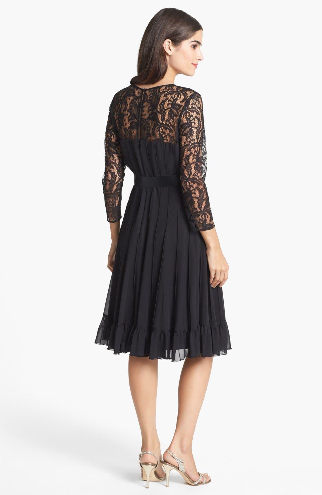 Alternate Image 2  - Adrianna Papell Lace Yoke Chiffon Fit & Flare Dress