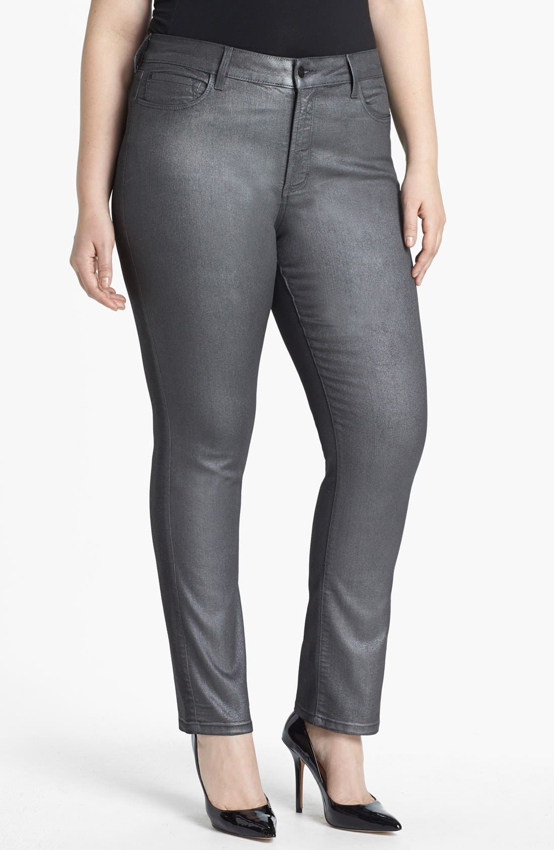 Alternate Image 1 Selected - NYDJ 'Sheri' Foiled Stretch Skinny Jeans (Plus Size)
