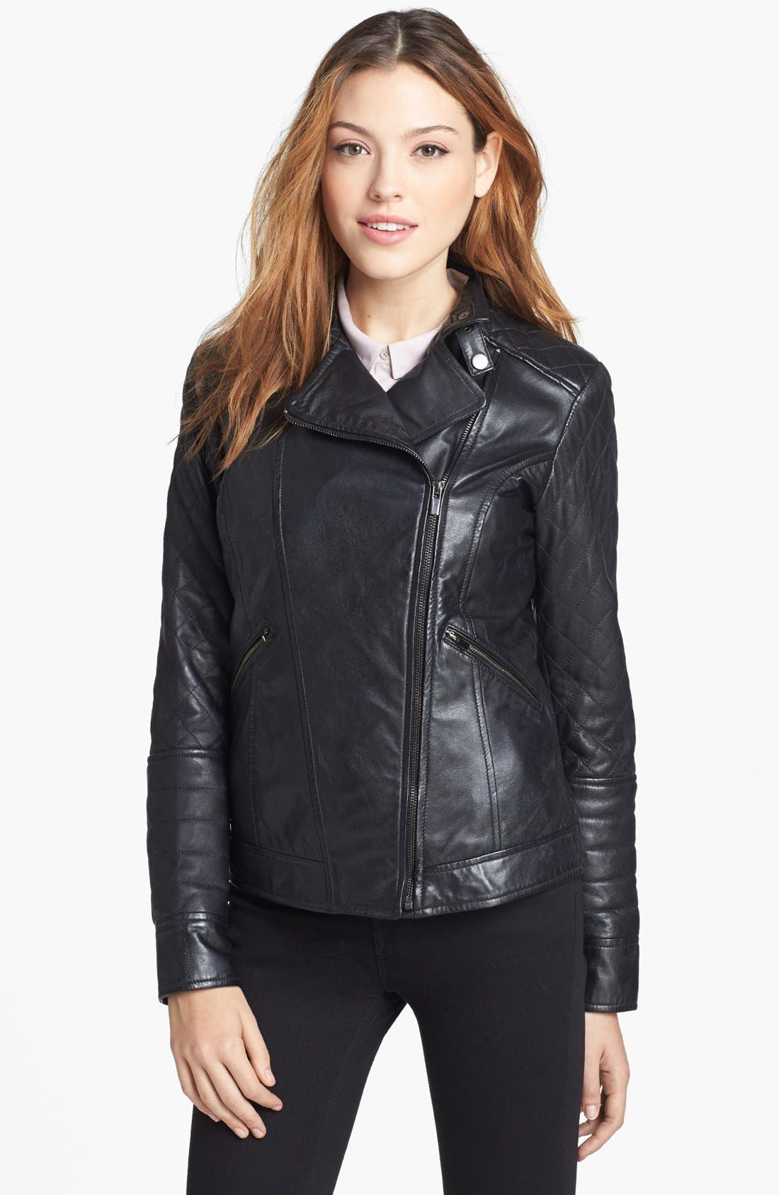 Alternate Image 1 Selected - LaMarque Quilted Leather Biker Jacket