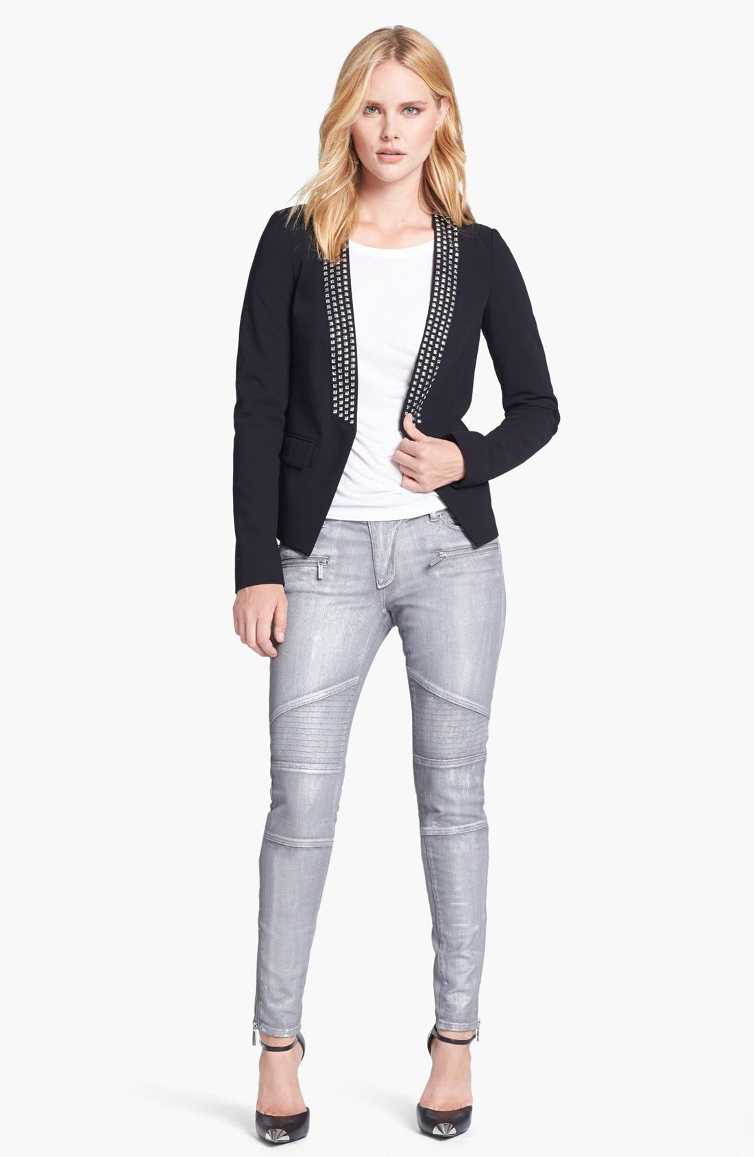Alternate Image 4  - MICHAEL Michael Jeans Moto Skinny Jeans (Silver)