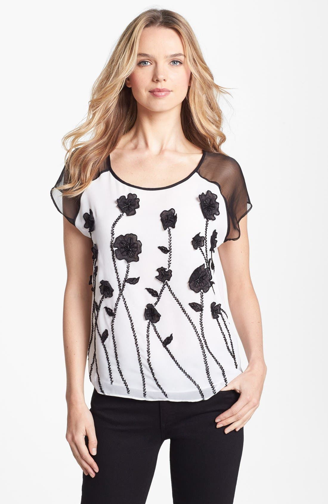 Main Image - Vince Camuto 'Flower Fields' Embellished Sheer Sleeve Blouse