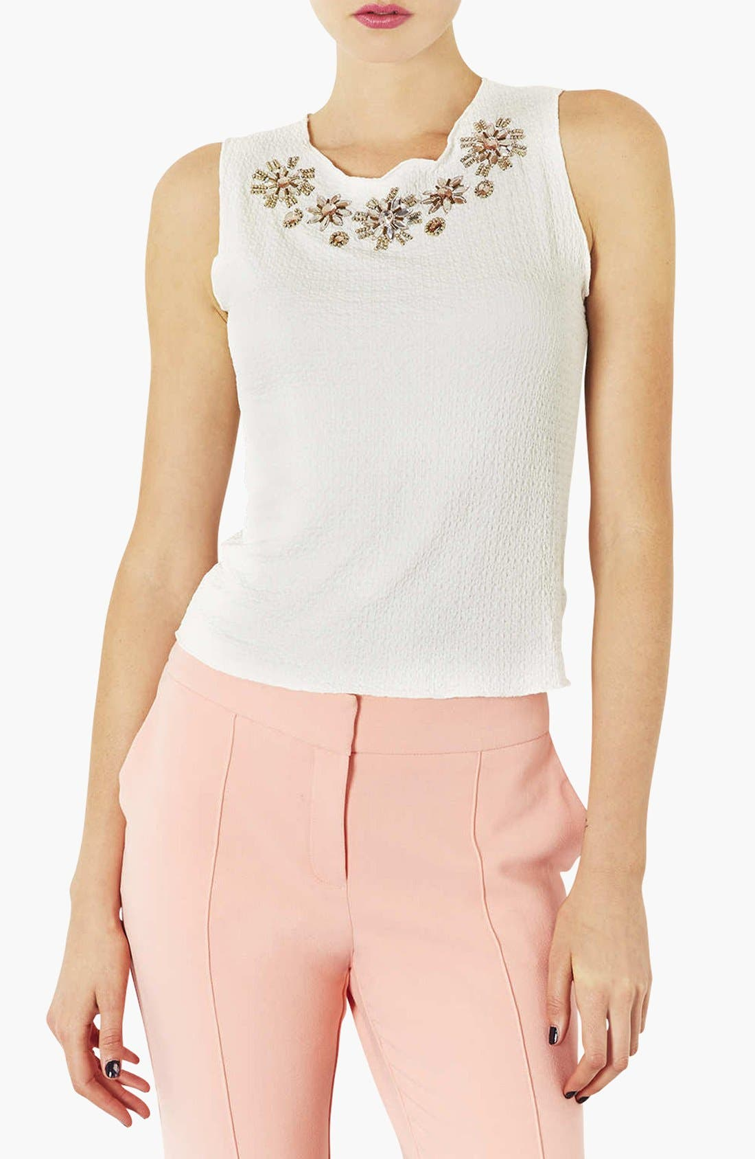 Main Image - Topshop Embellished Neck Textured Shell