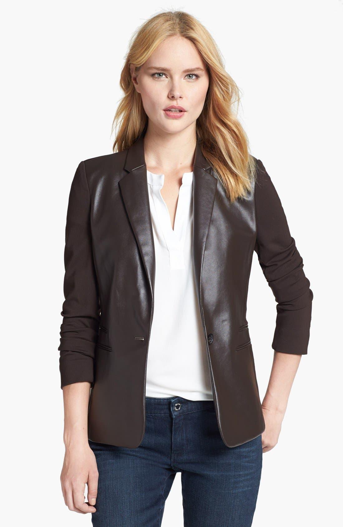 Alternate Image 1 Selected - MICHAEL Michael Kors Faux Leather Front Ponte Blazer