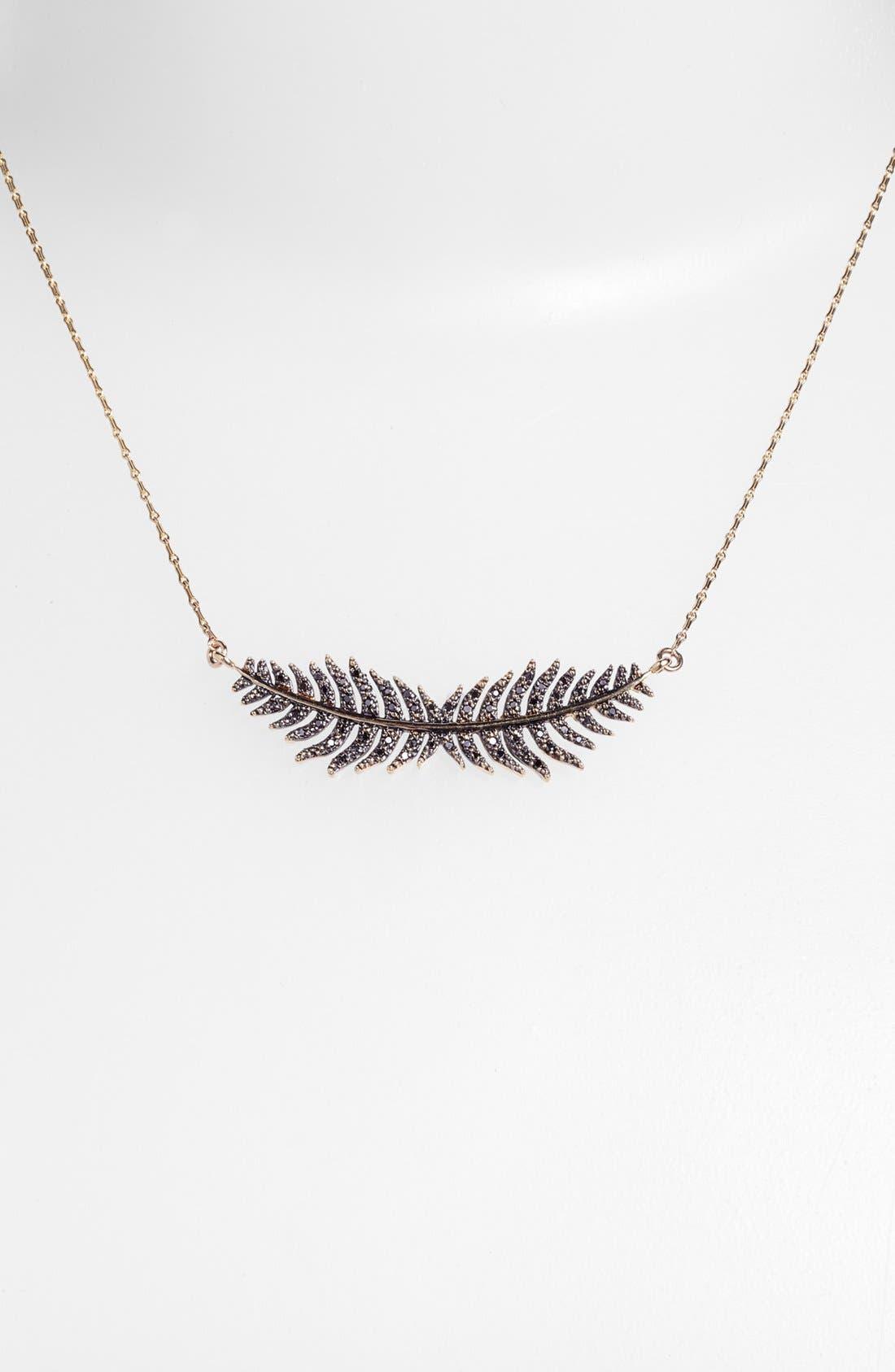 Alternate Image 2  - Mizuki 'Wings of Desire' Black Diamond Feather Pendant Necklace