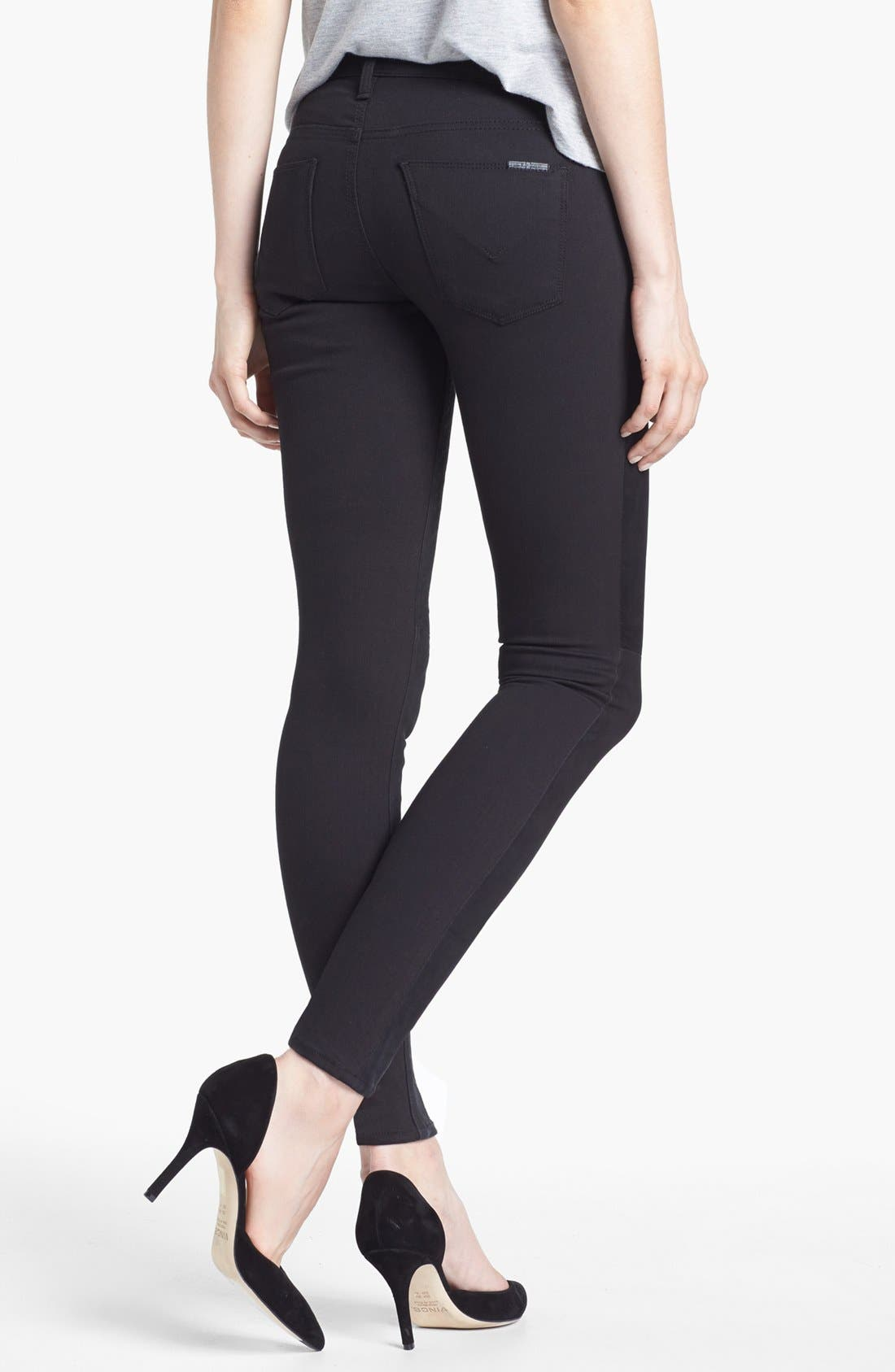 Alternate Image 2  - Hudson Jeans 'Nico' Suede Front Mid Rise Skinny Jeans (Mirage)